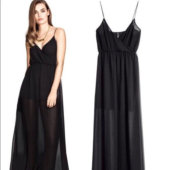 Hm Dresses Hm Black Sheer Maxi Dress Poshmark